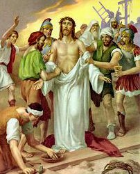 Image result for jesus being stripped of his garments